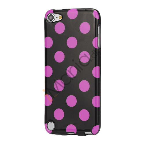 Image of   Skinnende Polkaprikket TPU Gel Cover til iPod Touch 5 - Lilla / Sort
