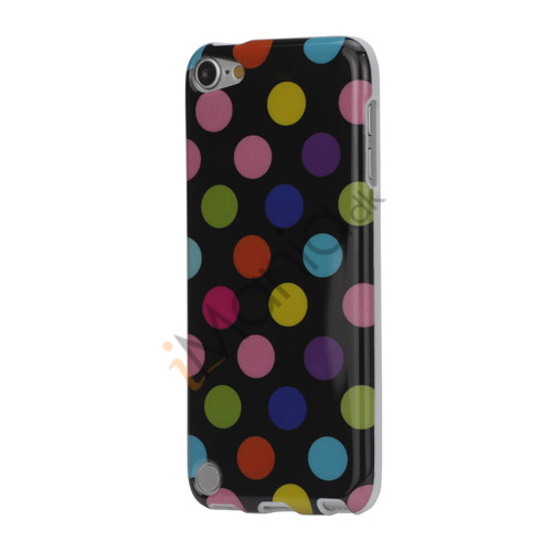 Image of   Skinnende Polkaprikket TPU Gel Cover til iPod Touch 5 - Farvelagt / Sort