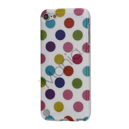 Skinnende Polkaprikket TPU Gel Cover til iPod Touch 5 - Farvelagt / Hvid