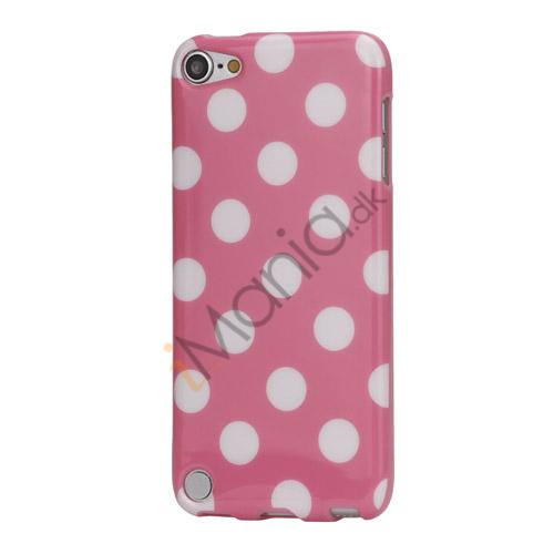 Image of   Skinnende Polkaprikket TPU Gel Cover til iPod Touch 5 - Hvid / Pink