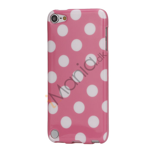 Skinnende Polkaprikket TPU Gel Cover til iPod Touch 5 - Hvid / Pink
