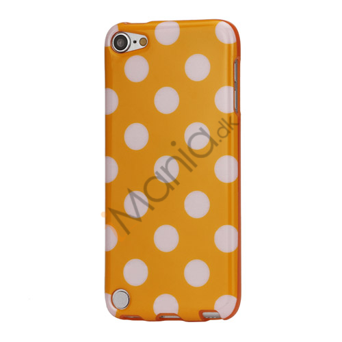 Skinnende Polkaprikket TPU Gel Cover til iPod Touch 5 - Hvid / Orange