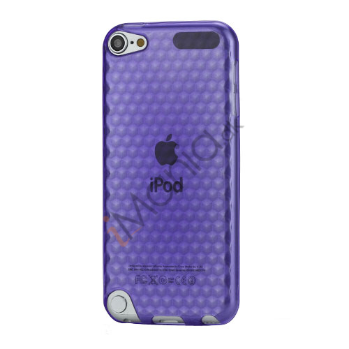 iPod Touch 5 Sekskantet Diamant TPU Gel Skin Cover - Gennemsigtig Lilla