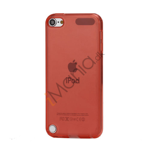 Glat Frosted Fleksibel TPU Gel Skin Cover til iPod Touch 5 - Transparent Rød