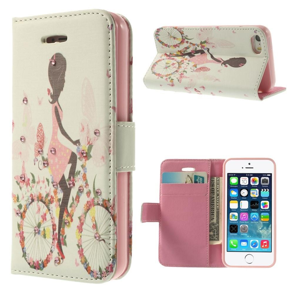 Image of   iPhone 5 Bling-etui - Pige på blomstercykel