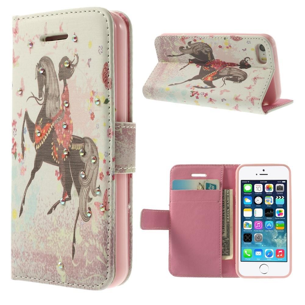Image of   iPhone 5 Bling-etui med pige til hest