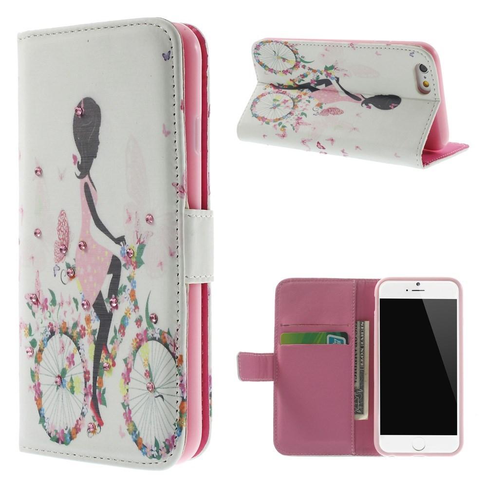 pink iphone 6 etui med pige p blomstercykel. Black Bedroom Furniture Sets. Home Design Ideas