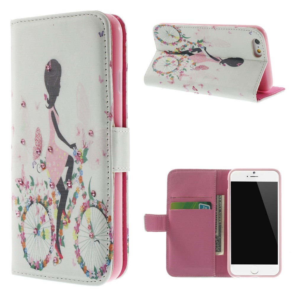 Image of   iPhone 6 Bling-etui - Pige på blomstercykel