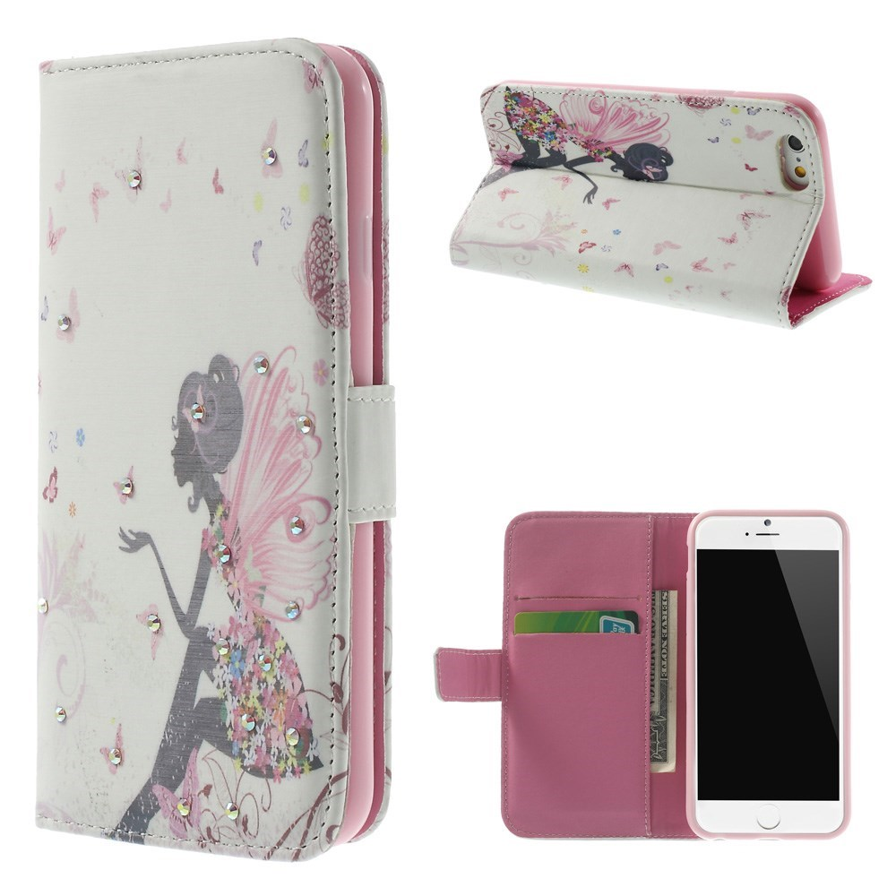 Image of   iPhone 6 Bling-etui - Sommerfuglepige