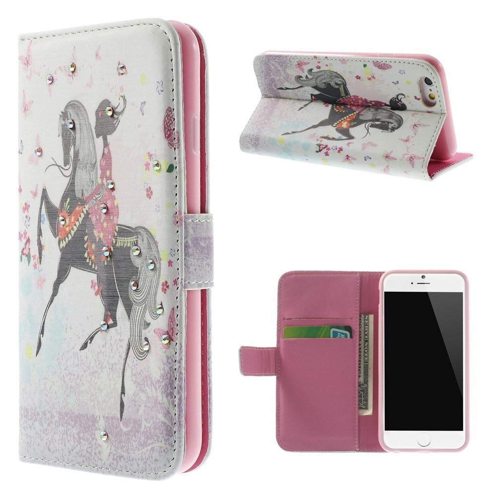 Image of   iPhone 6 Bling-etui med pige til hest