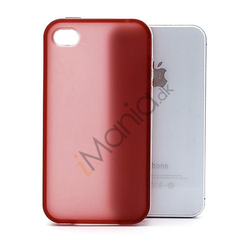 Image of   Frosted iPhone 4 TPU cover med aftalelig plastramme - Hvid / Rød