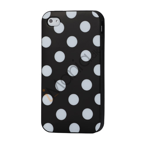 Polkaprikket iPhone 4 Cover i TPU Gummi - Hvide Prikker / Sort