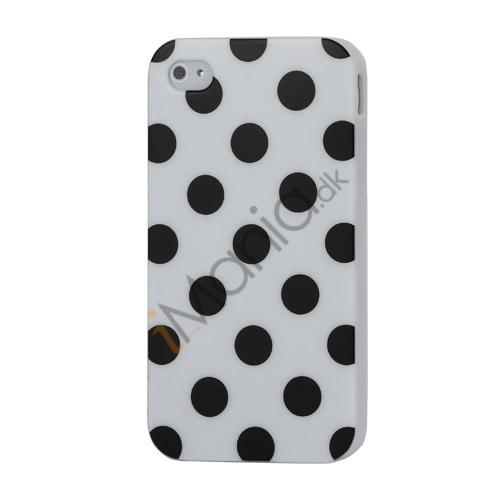 Image of   Polkaprikket iPhone 4 Cover i TPU Gummi – Sorte prikker / Hvid