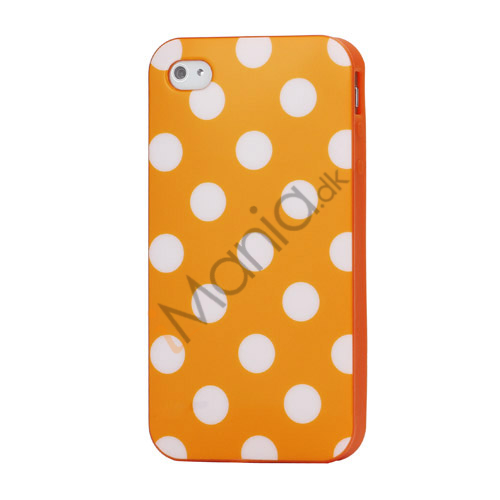 Image of   Polkaprikket iPhone 4 Cover i TPU Gummi - Hvide Prikker / Orange