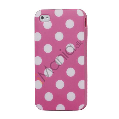Image of   Polkaprikket iPhone 4 Cover i TPU Gummi - Hvide Prikker / Pink