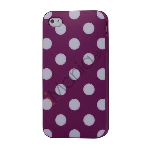 Image of   Polkaprikket iPhone 4 Cover i TPU Gummi - Hvide Prikker / lilla