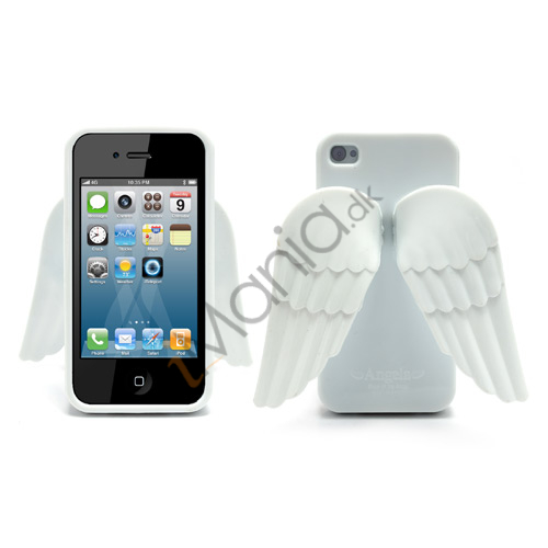 iPhone 4 4S 3D TPU Cover Med Englevinger - Hvid