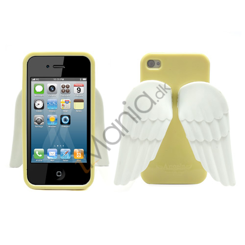 Image of   iPhone 4 4S 3D TPU Cover Med Englevinger - Gul