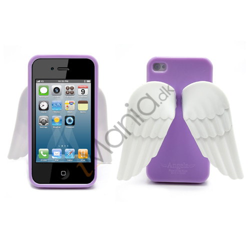 Image of   iPhone 4 4S 3D TPU Cover Med Englevinger - Lilla