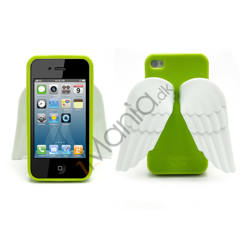 Image of   iPhone 4 4S 3D TPU Cover Med Englevinger - Grøn