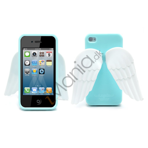 Image of   iPhone 4 4S 3D TPU Cover Med Englevinger - Babyblå