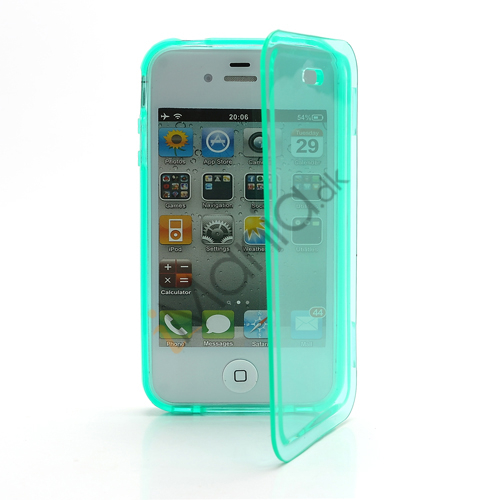 Image of   Dobbelt iPhone 4 4S TPU Cover - Gennemsigtig Cyan
