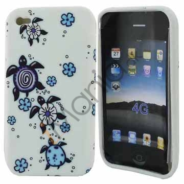 Image of   IPhone 4 cover med blomster og skildpadder