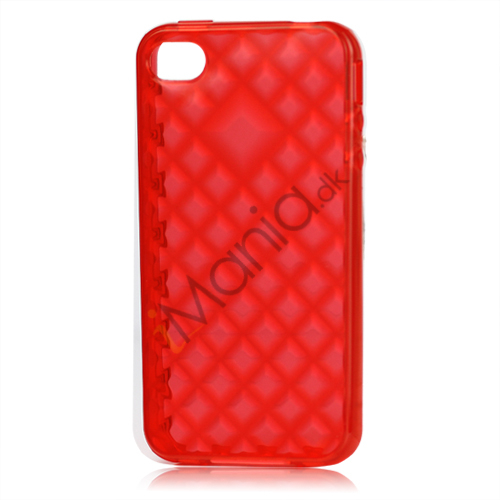 Image of   Gennemsigtigt Mønstret TPU Cover Til iPhone 4 / 4S- Gennemsigtig Rød