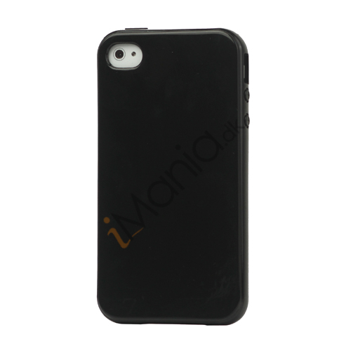 Image of   Blankt ensfarvet cover til iPhone 4 og iPhone 4S (TPU) - Sort