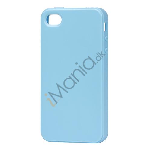 Image of   Blankt ensfarvet cover til iPhone 4 og iPhone 4S (TPU) - Lyseblå