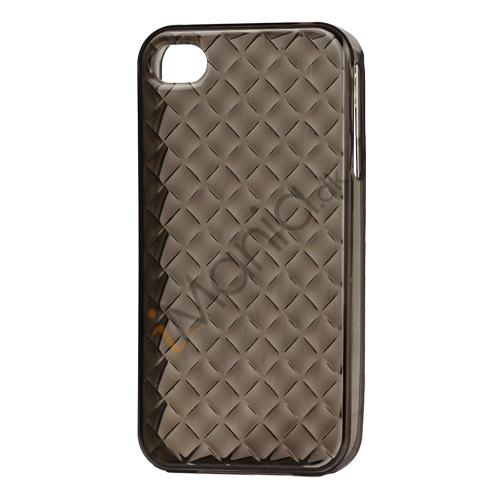 Image of   Gennemsigtigt TPU Case til iPhone 4 4S med vævet mønster - Gennemsigtig Grå