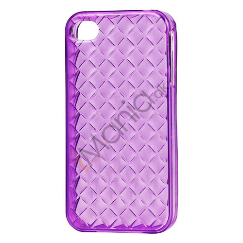 Image of   Gennemsigtigt TPU Case til iPhone 4 4S med vævet mønster - Gennemsigtig Lilla