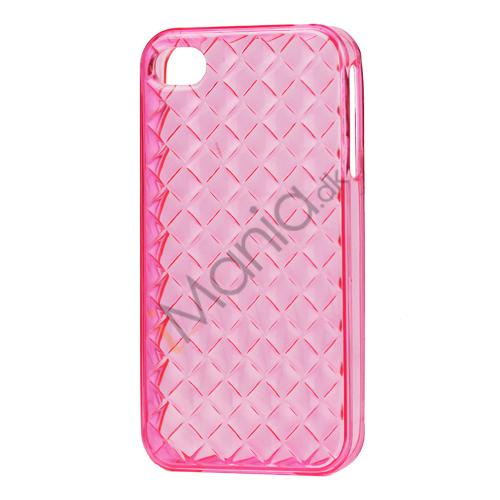 Image of   Gennemsigtigt TPU Case til iPhone 4 4S med vævet mønster - Gennemsigtig Pink