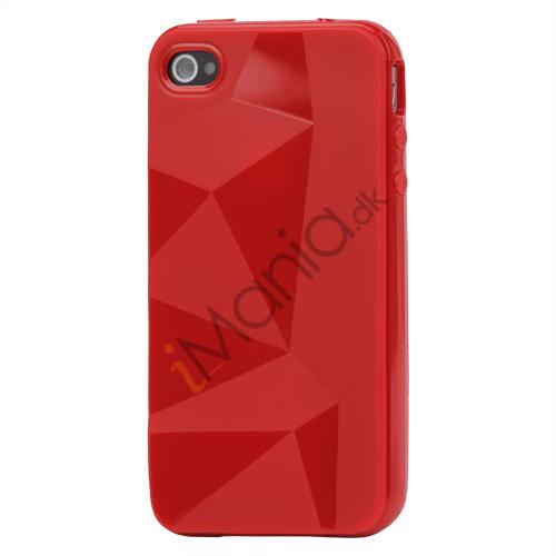 Image of   TPU cover til iPhone 4 og 4S med tredimensionelt mønster - Rød