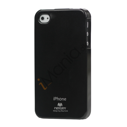 Image of   GlitterPulver TPU-Gummicover til iPhone 4 4S - Sort