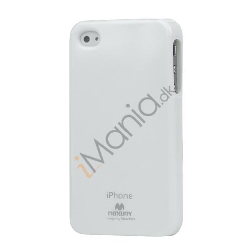 Image of   GlitterPulver TPU-Gummicover til iPhone 4 4S - Hvid