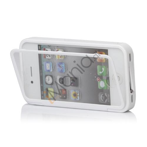 Image of   Dobbelt iPhone 4 / 4S Cover til både for- og bagside i TPU gummi - Hvid, Hvid