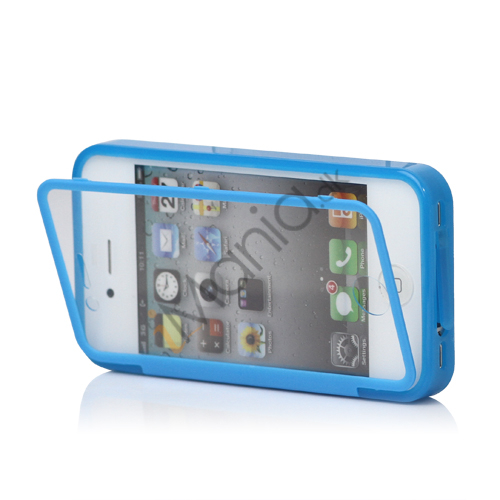 Image of   Dobbelt iPhone 4 / 4S Cover til både for- og bagside i TPU gummi - Blå, BabyBlue