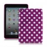 Slim Polka Dots Glossy TPU Gel Case Cover til iPad Mini - Hvid / Lilla