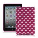 Slim Polka Dots Glossy TPU Gel Case Cover til iPad Mini - Hvid / Rose