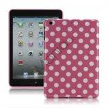 Slim Polka Dots Glossy TPU Gel Case Cover til iPad Mini - Hvid / Pink