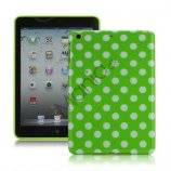 Slim Polka Dots Glossy TPU Gel Case Cover til iPad Mini - Hvid / Grøn