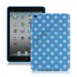 Slim Polka Dots Glossy TPU Gel Case Cover til iPad Mini - Hvid / Baby Blå