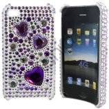 iPhone 4 / 4S bling cover med lilla hjerter