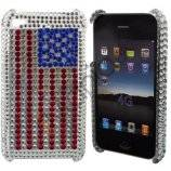 iPhone 4 / 4S bling cover USA flag