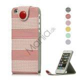 Vandret Stripe Magnetisk Læder Stand Case Wallet til iPhone 5
