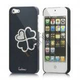 Kløver Cadmieret Diamant Case Cover til iPhone 5 - Sort