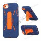 Snap-on Defender Case Cover med Stand til iPhone 5 - Blå / Orange