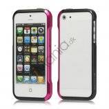 Luksus Aluminum Metal Bumper Ramme Case til iPhone 5 og 5S - Rose / Sort