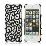 Bagning Maleri Hollow Palace blomstermønster Hard Case iPhone 5 cover - Sort